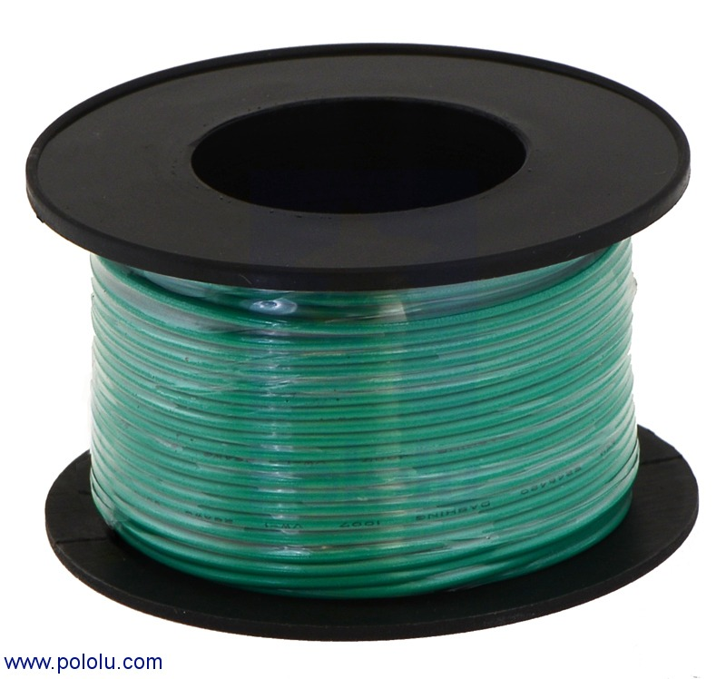 Stranded Wire: Green, 24 AWG, 60 Feet