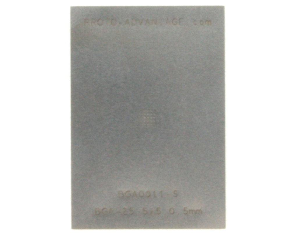 BGA-25 (0.5 mm pitch, 5 x 5 grid) Stainless Steel Stencil