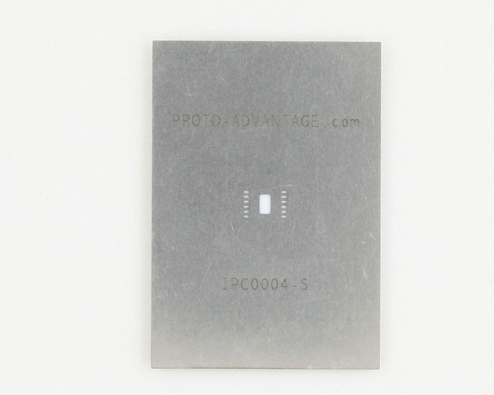 QFN-12 (0.5 mm pitch, 4 x 4 mm body, 1.6 x 2.8 mm pad) Stainless Steel Stencil