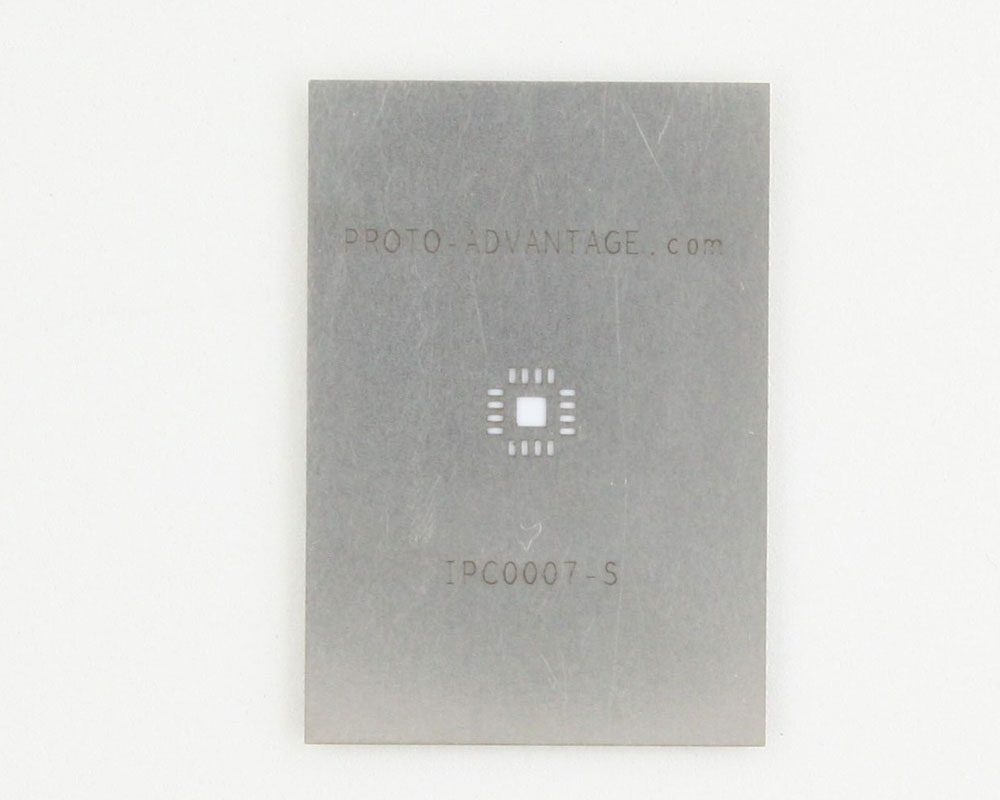 QFN-16 (0.65 mm pitch, 4 x 4 mm body, 2.1 x 2.1 mm pad) Stainless Steel Stencil