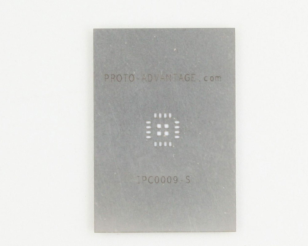 QFN-16 (0.8 mm pitch, 5 x 5 mm body, 2.7 x 2.7 mm pad) Stainless Steel Stencil