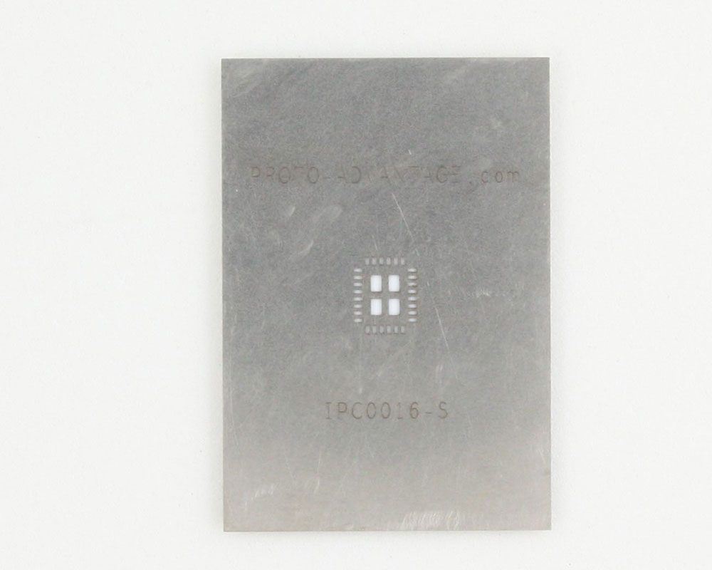 QFN-28 (0.5 mm pitch, 4 x 5 mm body, 2.5 x 3.5 mm pad) Stainless Steel Stencil