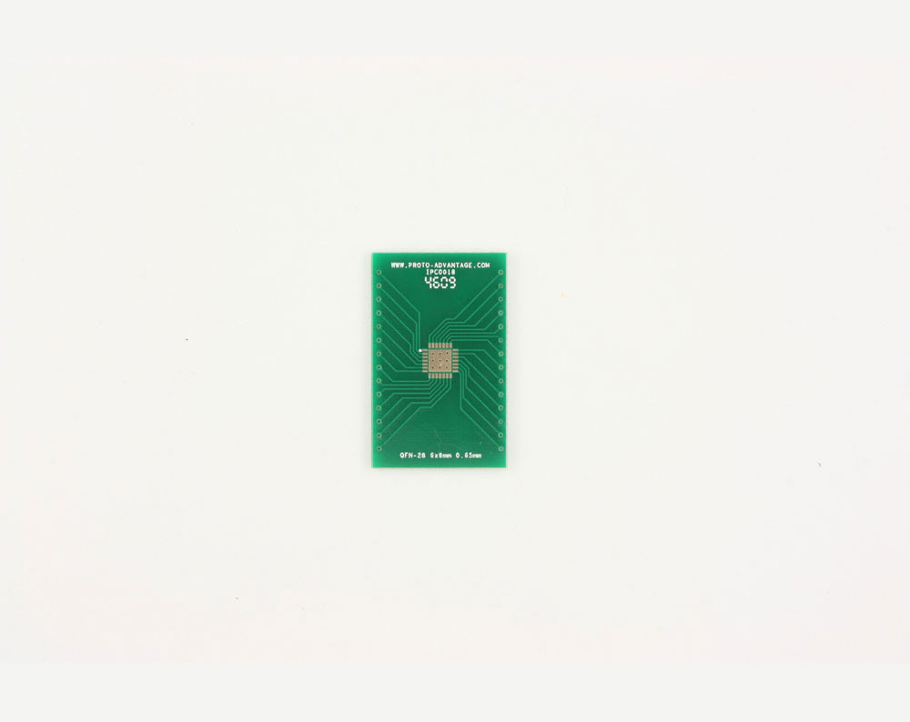 QFN-28 to DIP-32 SMT Adapter (0.65 mm pitch, 6 x 6 mm body, 4.1 x 4.1 mm pad)