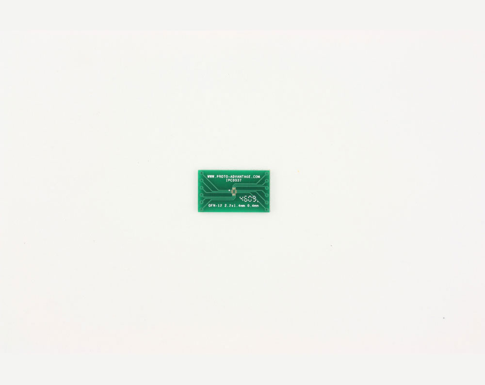 QFN-12 to DIP-12 SMT Adapter (0.4 mm pitch, 2.2 x 1.4 mm body)