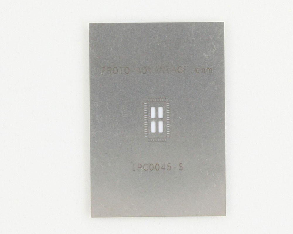 QFN-46 (0.4 mm pitch, 4 x 7 mm body, 2.5 x 5.5 mm pad) Stainless Steel Stencil