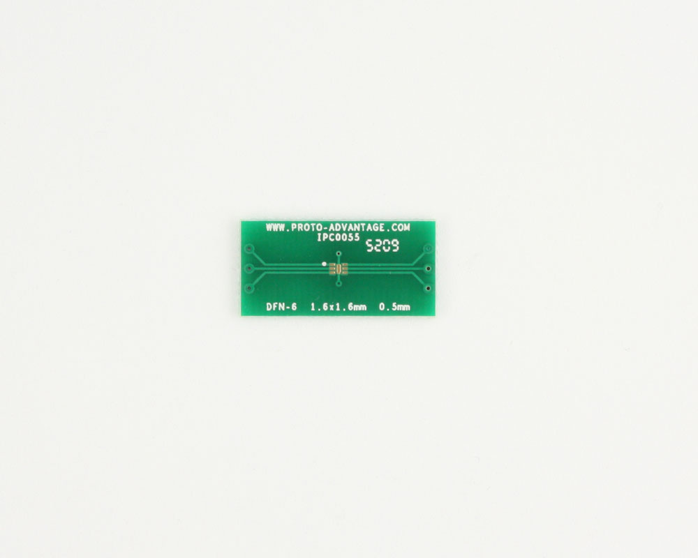 DFN-6 to DIP-10 SMT Adapter (0.5 mm pitch, 1.6 x 1.6 mm body)