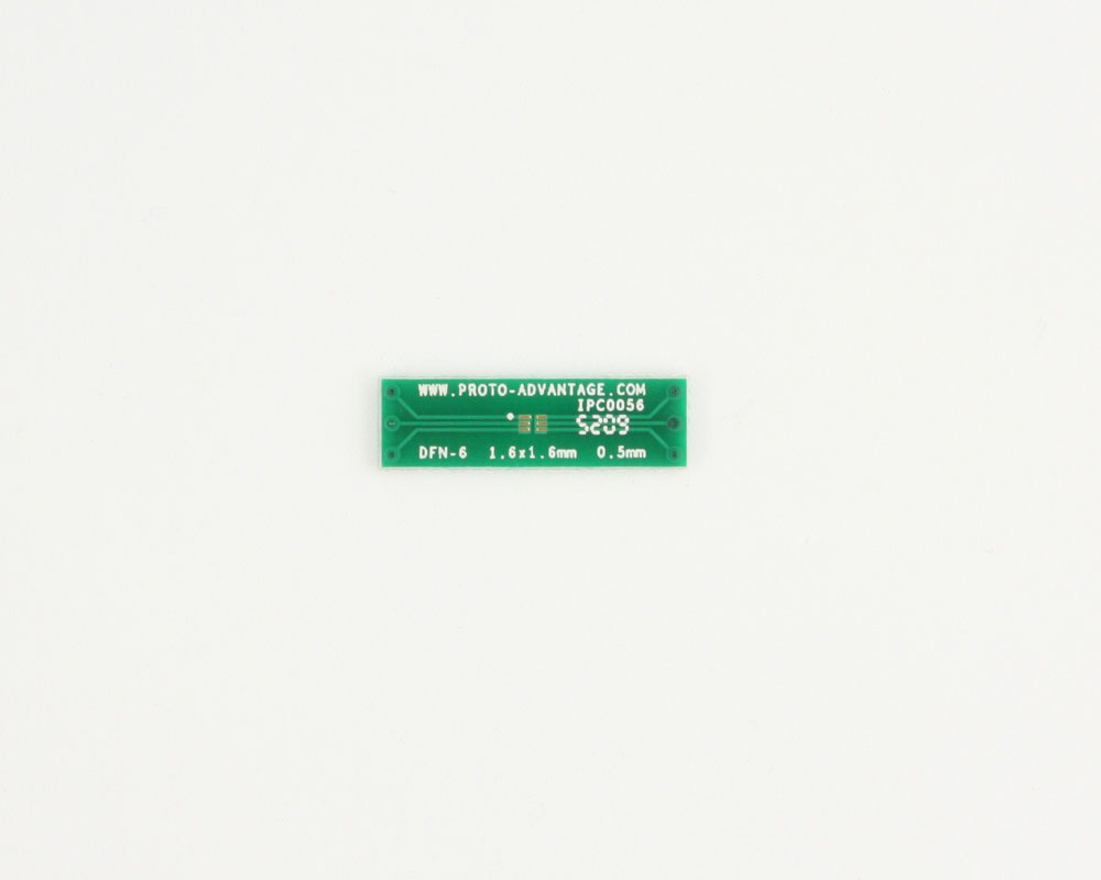 DFN-6 to DIP-6 SMT Adapter (0.5 mm pitch, 1.6 x 1.6 mm body)