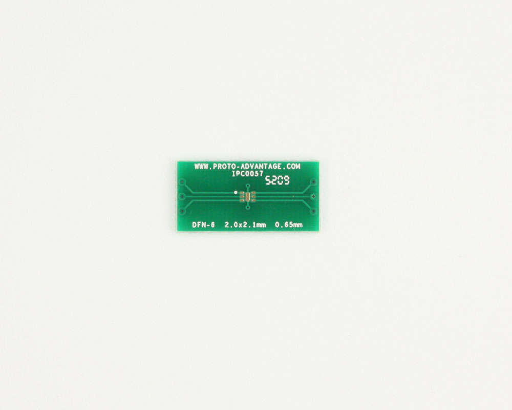 DFN-6 to DIP-10 SMT Adapter (0.65 mm pitch, 2.0 x 2.1 mm body)