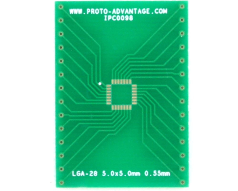 LGA-28 to DIP-28 SMT Adapter (0.55 mm pitch, 5.0 x 5.0 mm body)