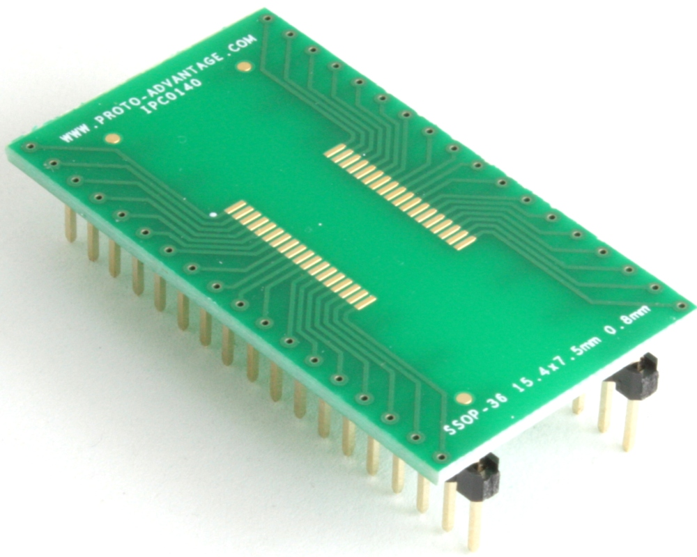SSOP-36 to DIP-36 SMT Adapter (0.8 mm pitch, 15.4 x 7.5 mm body)
