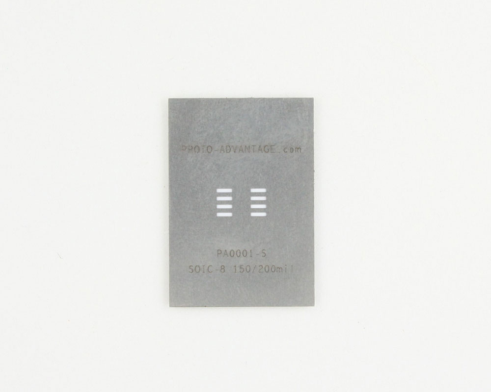 SOIC-8 (1.27 mm pitch, 150/200 mil body) Stainless Steel Stencil