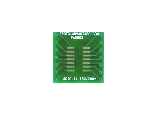 SOIC-14 to DIP-14 SMT Adapter (1.27 mm pitch, 150/200 mil body)