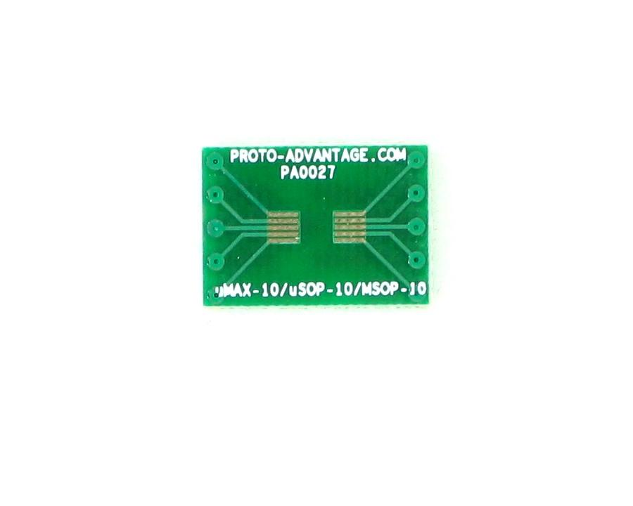 MSOP-10 to DIP-10 SMT Adapter (0.5 mm pitch)