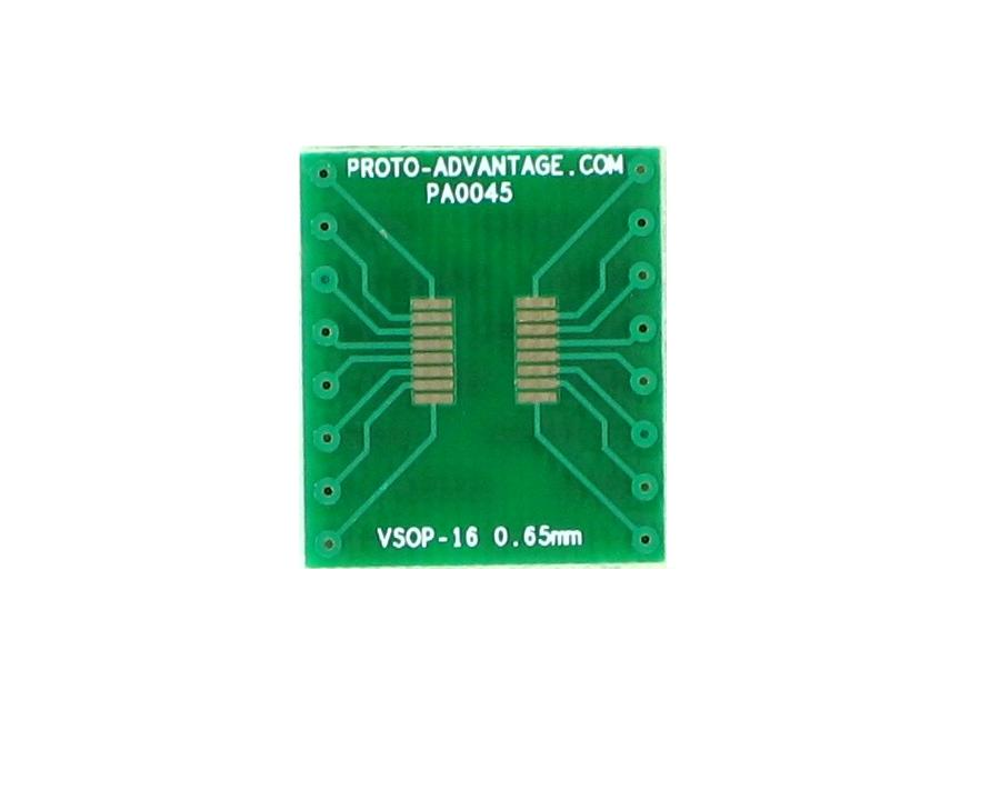 VSOP-16 to DIP-16 SMT Adapter (0.65 mm pitch, 4.4 mm body)