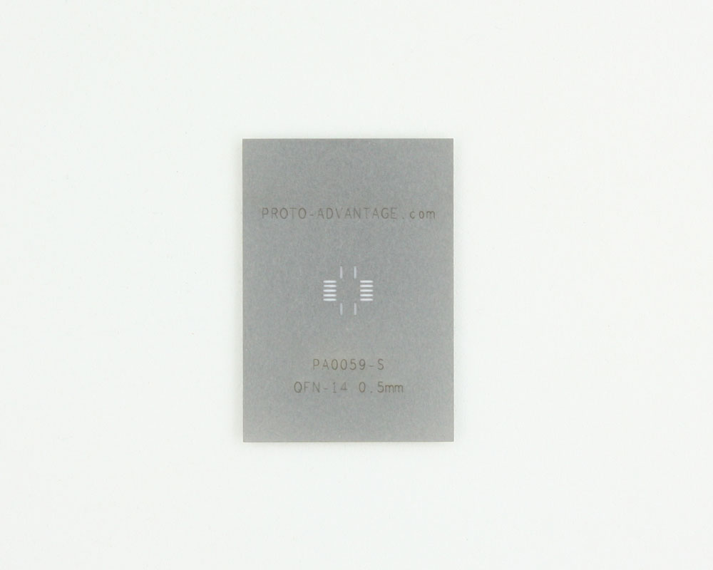 QFN-14 (0.5 mm pitch, 3.5 x 3.5 mm body) Stainless Steel Stencil