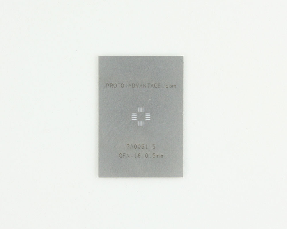 QFN-16 (0.5 mm pitch, 3 x 3 mm body) Stainless Steel Stencil