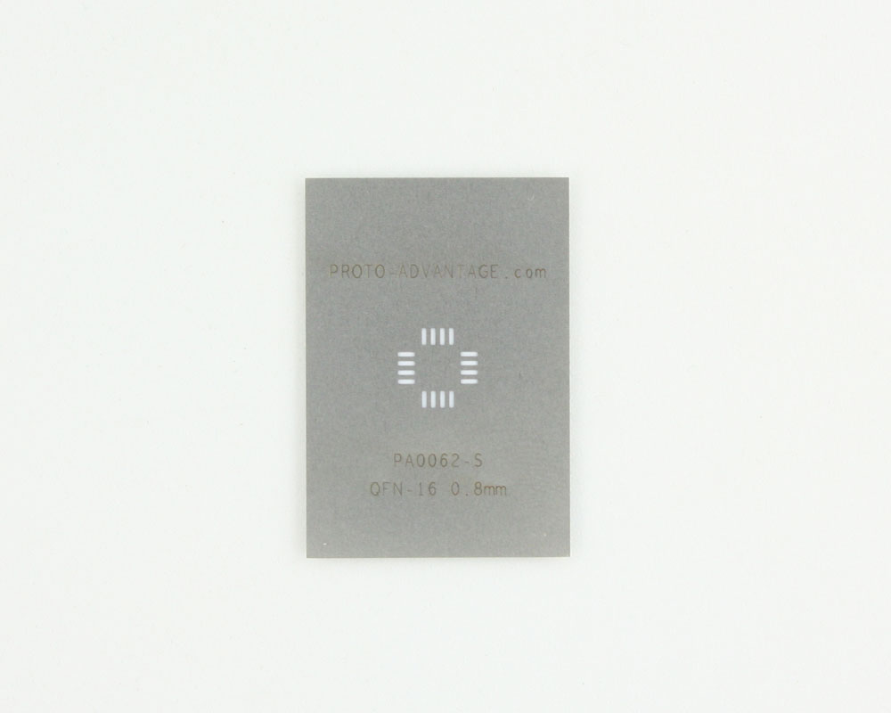 QFN-16 (0.8 mm pitch, 5 x 5 mm body) Stainless Steel Stencil