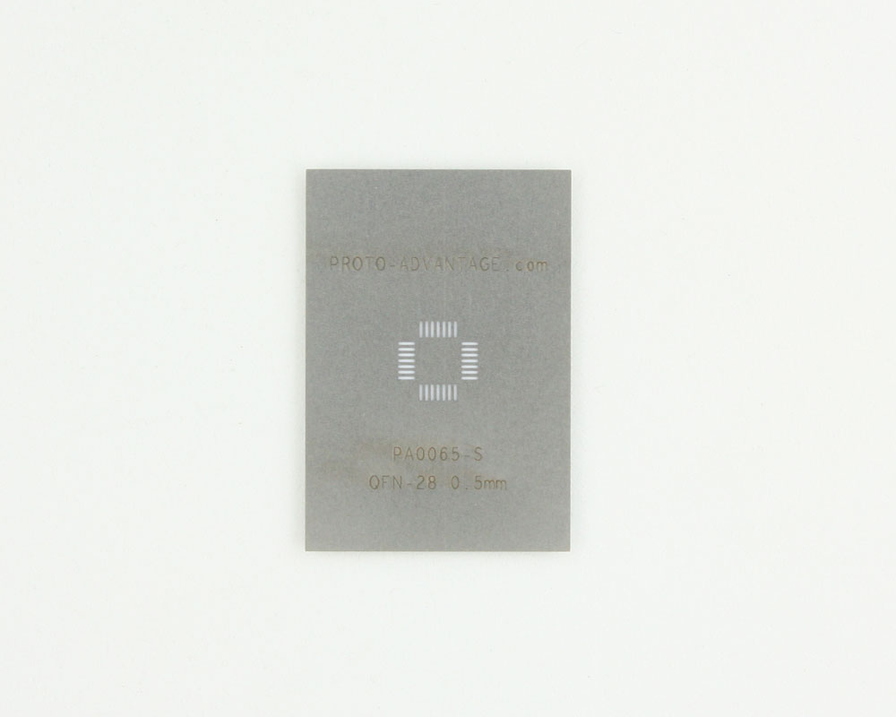 QFN-28 (0.5 mm pitch, 5 x 5 mm body) Stainless Steel Stencil