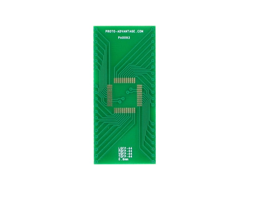TQFP-44 to DIP-44 SMT Adapter (0.8 mm pitch, 10 x 10 mm body)