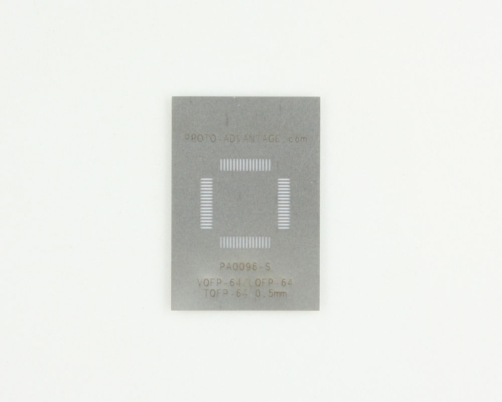 TQFP-64 (0.5 mm pitch, 10 x 10 mm body) Stainless Steel Stencil