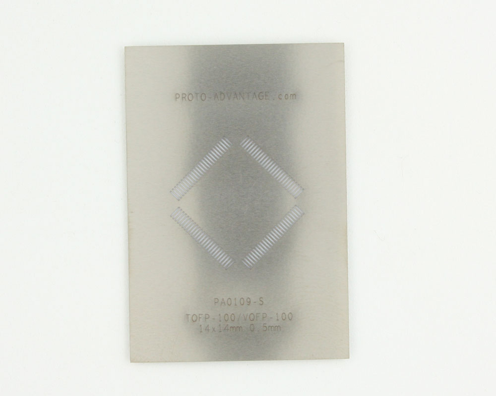 TQFP-100 (0.5 mm pitch, 14 x 14 mm body) Stainless Steel Stencil