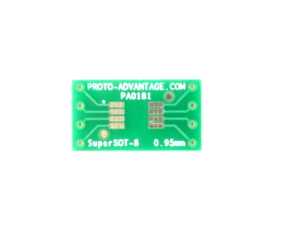 SuperSOT-8 to DIP-8 SMT Adapter (0.95 mm pitch, 4.0x3.3 mm body)